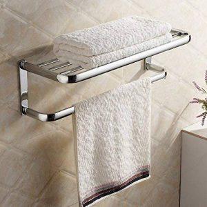 Hiendure Fini chrome en laiton massif Salle de bains étagère avec porte-serviettes de la marque Hiendure image 0 produit
