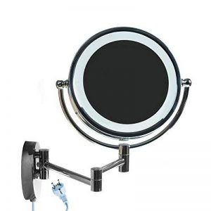 HIMRY 8,5 Pouces LED Miroir cosmétique Mural Grossissant x10 Lumineux Extension Pliant, peut être monté avec ou sans forage - Double Face avec normale et Grossissant x10 - 360 degrés rotation, KXD3129-10x de la marque HIMRY image 0 produit