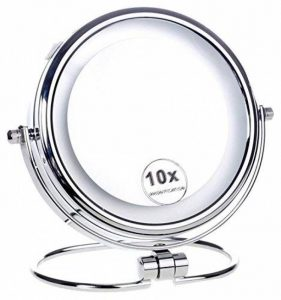 HIMRY® LED 6 Pouces Lumineux Miroir cosmétique sur pied Assisi, 15 cm Miroir, À piles, Double Face avec normale et Grossissant x10 - 360 degrés rotation, KXD3137-10x de la marque HIMRY image 0 produit