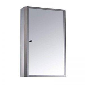 Homcom Armoire de Salle de Bain Murale en Acier Inoxydable avec Miroir - 2Étagères - Porte Simple - (H x L x P): 60 x 40 x 13 cm de la marque Homcom image 0 produit