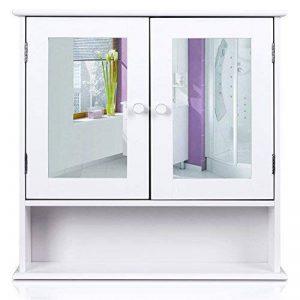 Homfa Campagne Placard Commode Murale Meuble Armoire Suspendue Blanc Dressoir Portes Miroir (Type-2) de la marque Homfa image 0 produit