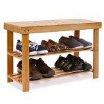 homfa de bambou chaussures Porte Chaussures Étagère Tabouret de bois naturel de maison pour vestiaires 70× 28× 46cm, charge jusqu'à 100kg de la marque Homfa image 4 produit