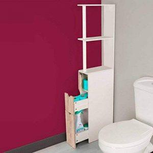IDMarket - Meuble WC étagère bois 3 portes coloris hêtre gain de place pour toilettes de la marque IDMarket image 0 produit
