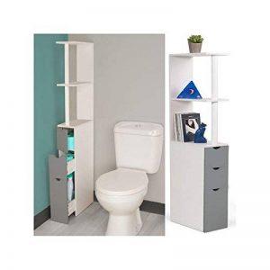 IDMarket - Meuble WC étagère bois blanc et gris gain de place pour toilettes 3 portes de la marque IDMarket image 0 produit