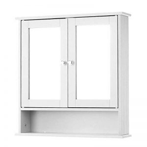IKAYAA Armoire de Toilettes Salle de Bains Armoire Murale Miroirs Salle de Bain 2 Portes 3 étagères Meubles de Cabinet de Mur de Salle de Bains 56 X 13 X 58 cm de la marque IKAYAA image 0 produit