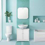 IKAYAA Meuble sous lavabo Salle de Bain Meuble de Rangement sous Vasque en MDF Armoire de Salle de Bain Portes Organisateur 2 Couches Blanc/Bleu 60 X 29 X 60 cm de la marque IKAYAA image 1 produit