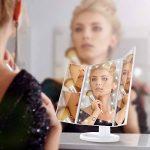 ISASSY Miroir Maquillage Lumineux Pliable à LED Miroir Grossissant Lumineux 1X / 2X / 3X Miroir de Table 180 Degrés Rotatif pour Un Maquillage Précis et Une Epilation De Près-Blanc de la marque ISASSY image 1 produit