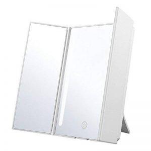Jerrybox Miroir de Table à Trois Faces avec Eclairage LED, Alimentation par Piles ou Câble de Recharge USB, Angle de Rotation Ajustable de 180°, Repliable, Support Arrière de la marque Jerrybox image 0 produit