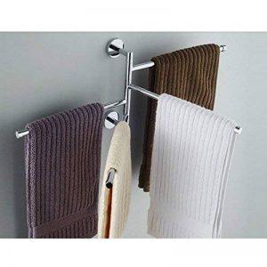 L&HM Porte-serviettes Support Mural/Sèche-Serviettes en Acier Inoxydable avec 4 Barres Rotatives pour salle de bain/cuisine/lavabo 38 x 23.5CM de la marque L&HM image 0 produit