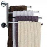 L&HM Porte-serviettes Support Mural/Sèche-Serviettes en Acier Inoxydable avec 4 Barres Rotatives pour salle de bain/cuisine/lavabo 38 x 23.5CM de la marque L&HM image 1 produit