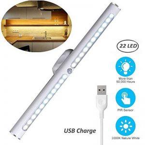 Lampe de Placard 22 LED Veilleuse LED avec Détecteur de Mouvement 3 Modes d'Eclairage Lampe d'Armoire à Pile sans Fil USB Rechargeable pour Armoire Placard Meuble de Cuisine Escalier Miroir Lumière Chaud de la marque O'BLACK image 0 produit