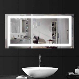 LEBRIGHT Miroir Salle Bain 100x60cm 23W lampe miroir salle de bain led, Miroir LED Lampe de Miroir Éclairage Salle de Bain Miroir Lumineux Solide de Verre Trempé Anti-déflagrant (4000k Blanc neutre) de la marque LEBRIGHT image 0 produit