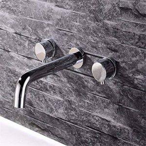 LHbox Lavabo Vasque Mitigeur Robinet l'eau Chaude et Froide en cuivre dans Le Bassin d'encastrement Mural Double-Double-Vasque lavabo Robinet Meuble de Salle de la marque LHbox Tap image 0 produit