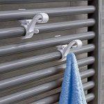 Lot de 2 crochets à radiateur rond blanc/porte-serviette/porte-serviette/crochet pour chauffage/porte-serviettes/crochets / salle de bain/salle de bain/plastique / salle de bain de la marque K&G image 1 produit