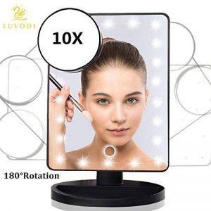 LUVODI Miroir Maquillage lumineux Écran tactile 22 LEDs Lumière Réglable Makeup Miroir sur Pied Grossissant X 10 pour le maquillage, le rasage et les soins du visage Noir de la marque LUVODI image 0 produit