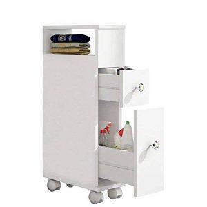 MAIMAITI Meuble Salle de Bain Blanc ,avec 2 tiroirs Blancs,15 x 33 x 65cm,HBS01-WEI de la marque MAIMAITI image 0 produit