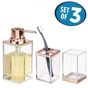 mDesign accessoires de salle de bain (lot de 3) – porte brosse a dent, distributeur de savon et verre – en plastique résistant – transparent/or rosé de la marque MetroDecor image 0 produit