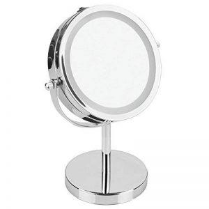 mDesign miroir cosmétique lumineux sur pied – glace à double face pour salle de bain, grossissement de 2x – pour maquillage et rasage – couleur: chrome de la marque MetroDecor image 0 produit