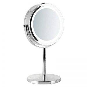 mDesign miroir lumineux à LED – miroir à maquillage avec grossissement x7 – miroir make-up inclinable à 360° pour la table à maquillage – argenté de la marque MetroDecor image 0 produit