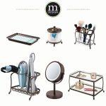 mDesign miroir lumineux à LED – miroir à maquillage avec grossissement x7 – miroir make-up inclinable à 360° pour la table à maquillage – couleur bronze de la marque MetroDecor image 3 produit