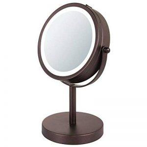 mDesign miroir lumineux à LED – miroir à maquillage avec grossissement x7 – miroir make-up inclinable à 360° pour la table à maquillage – couleur bronze de la marque MetroDecor image 0 produit