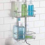 mDesign panier de douche – montage sans perçage – rangement de douche (grand) en acier inoxydable, pour shampooing, éponges, rasoirs et d'autres accessoires de douche de la marque MetroDecor image 1 produit
