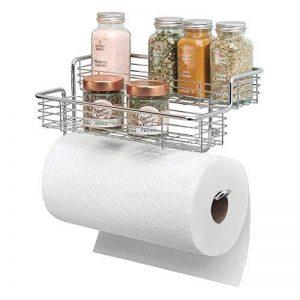 mDesign porte essuie-tout en métal – dérouleur essuie-tout haut de gamme avec étagère épices – accessoire de cuisine pratique – argenté de la marque MetroDecor image 0 produit