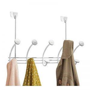 mDesign porte-manteau porte avec 10 crochets – patere de porte – patere porte pour manteaux, chapeaux, peignoirs, serviettes, etc. – blanc de la marque MetroDecor image 0 produit