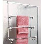 mDesign porte-serviette à monter sans percer ? sèche-serviettes à accrocher simplement sur une porte ? à utiliser comme porte-serviettes ou portant pour vêtement ? blanc/chromé de la marque MetroDecor image 2 produit