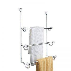 mDesign porte-serviette à monter sans percer ? sèche-serviettes à accrocher simplement sur une porte ? à utiliser comme porte-serviettes ou portant pour vêtement ? blanc/chromé de la marque MetroDecor image 0 produit