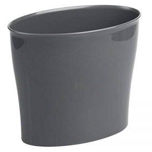 mDesign poubelle en plastique solide ronde – corbeille à papier compacte et résistante sans couvercle – poubelle salle de bain pratique – gris foncé de la marque MetroDecor image 0 produit