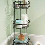 mDesign étagère d'angle sur pied pour salle de bain et pour douche – meuble de rangement téléscopique pratique à trois paniers pour shampooings, gels de douche et Cie. – meuble de rangement inoxydable – bronze de la marque MetroDecor image 1 produit