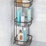 mDesign étagère d'angle sur pied pour salle de bain et pour douche – meuble de rangement téléscopique pratique à trois paniers pour shampooings, gels de douche et Cie. – meuble de rangement inoxydable – bronze de la marque MetroDecor image 2 produit
