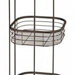 mDesign étagère d'angle sur pied pour salle de bain et pour douche – meuble de rangement téléscopique pratique à trois paniers pour shampooings, gels de douche et Cie. – meuble de rangement inoxydable – bronze de la marque MetroDecor image 3 produit
