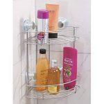 mDesign étagère de douche avec ventouse, argenté – étagère d'angle sur deux niveaux pour shampoing, savons, rasoir etc. - Montage sans perceuse de la marque MetroDecor image 1 produit