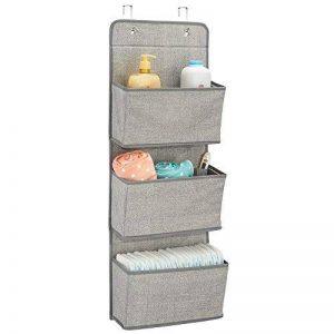 mDesign étagère de rangement avec 3 compartiments – meuble de rangement en tissu pour peluches, couches ou serviettes de bain – organiseur de chambre d'enfant à suspendre – couleur : gris de la marque MetroDecor image 0 produit