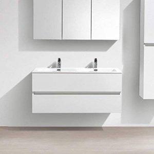 Meuble salle de bain design double vasque SIENA largeur 120 cm, blanc laqué de la marque Le Monde du Bain image 0 produit