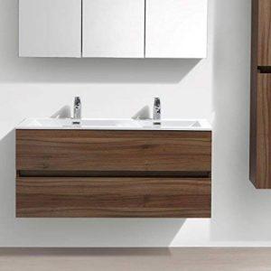 Meuble Salle de Bain Design Double Vasque Siena Largeur 120 cm, Noyer de la marque Le Monde du Bain image 0 produit
