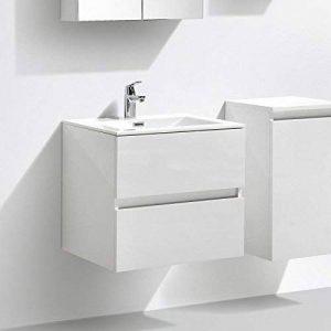 Meuble salle de bain design simple vasque SIENA largeur 60 cm, blanc laqué de la marque Le Monde du Bain image 0 produit