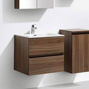 Meuble salle de bain design simple vasque SIENA largeur 60 cm, noyer de la marque Le Monde du Bain image 0 produit