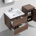 Meuble salle de bain design simple vasque SIENA largeur 60 cm, noyer de la marque Le Monde du Bain image 4 produit