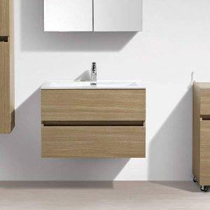 Meuble Salle de Bain Design Simple Vasque Siena Largeur 80 cm, chêne Clair de la marque Le Monde du Bain image 0 produit