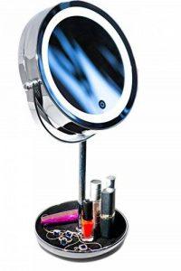 Miroir Cosmétique LED avec Grossissement 10X et Plateau Bijouterie - Luminosité Réglable - Finition Chrome, Construction Métal/Verre de la marque BonuMart image 0 produit