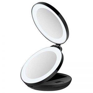 Miroir de Poche Lumineux, Miroir de Maquillage Pliable et Portable, 16 LED, Grossissant 1x et 10x,Unodeco U033 de la marque Unodeco image 0 produit