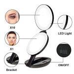 Miroir de Poche Lumineux, Miroir de Maquillage Pliable et Portable, 16 LED, Grossissant 1x et 10x,Unodeco U033 de la marque Unodeco image 1 produit