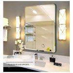 Miroir de salle de bain, Mural Simple Hypoténuse arrondie Tenture murale miroir Miroir de maquillage salle de bains Installé horizontalement Miroir en verre Sans cadre-D 60x80cm(24x31inch) de la marque DW&HX image 1 produit
