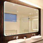 Miroir de salle de bain, Mural Simple Hypoténuse arrondie Tenture murale miroir Miroir de maquillage salle de bains Installé horizontalement Miroir en verre Sans cadre-D 60x80cm(24x31inch) de la marque DW&HX image 2 produit