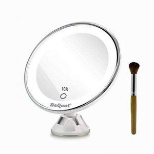 Miroir Grossissant Miroir Maquillage - 10X a grossi la vanité de maquillage, miroir cosmétique illuminé de couleur de lumière du jour,Ventouse d'Attache Ajustable à 360 Miroir Éclairé Portable, Lumineux LED De Voyage avec Verrouillage Ventouse, Miroir de image 0 produit