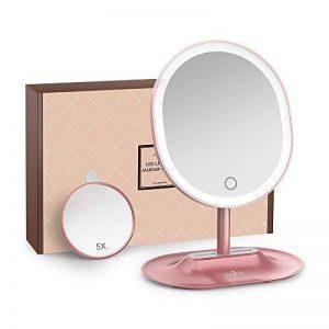 Miroir Lumineux Anjou Miroir Maquillage Rechargeable avec Amovible 5x Miroir Grossissant, Lumière à LED à Réglage Tactile, Rotation à 120° pour Utilisation sur Comptoir - Or Rose de la marque Anjou image 0 produit