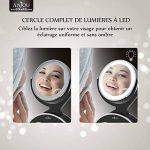 Miroir Lumineux Grossissant 7x Anjou, Miroir Maquillage Portable, Double Face, Rotation 360°, Aspect Vintage Argent/Noir, Amovible et Alimenté par 3x Piles AA Gratuites de la marque Anjou image 2 produit